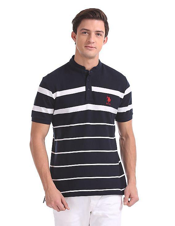 9e366eaabc Buy Men Regular Fit Mandarin Collar Polo Shirt online at NNNOW.com