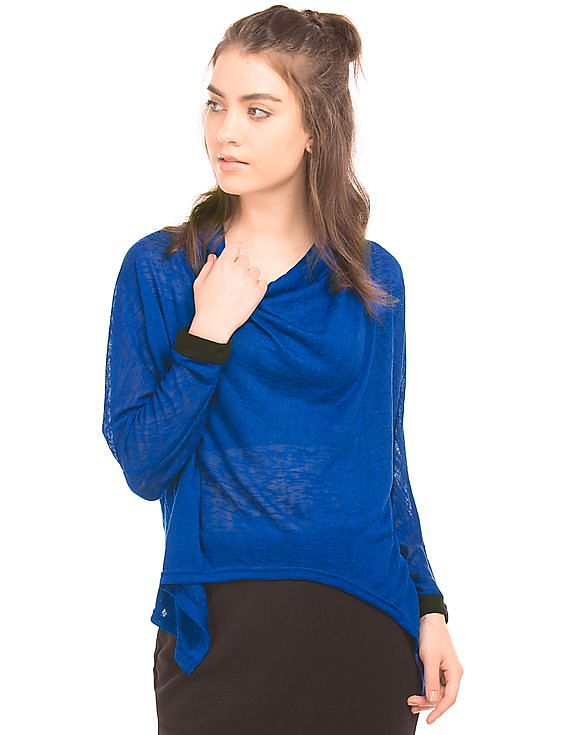 Flat 50% off on And Women By Nnnow | Cowl Neck Knit Top @ Rs.850