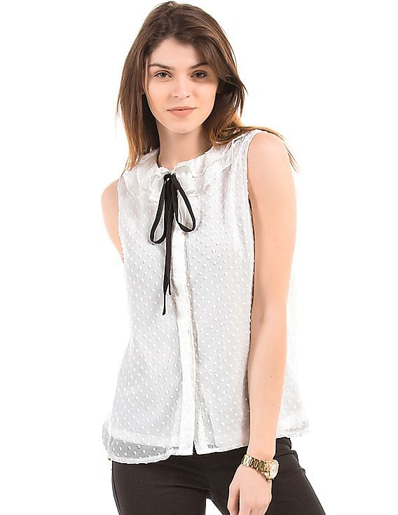 Buy 1 Get 1 Free Shop More, Save More on Top Brands By Nnnow | FASHION UNION Dobby Weave Ruffled Collar Top @ Rs.1,000