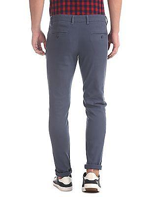 Ruggers Blue Modern Slim Fit Flat Front Trousers