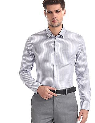 Arrow Grey Vertical Stripe Cotton Shirt