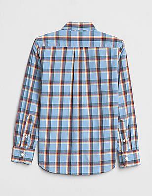 GAP Boys Blue Poplin Plaid Long Sleeve Shirt