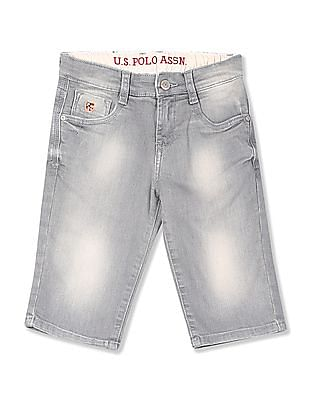 U.S. Polo Assn. Kids Boys Stone Wash Denim Shorts