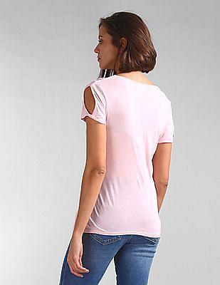 GAP Cutout Sleeve Logo Print T-Shirt