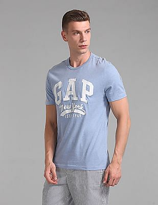 GAP Men Blue Crew Neck Logo T-Shirt