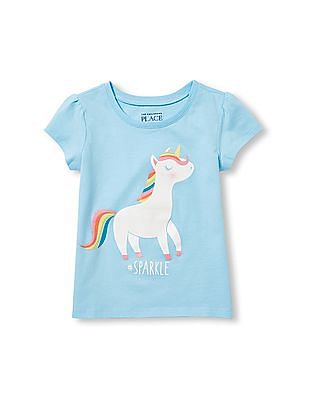 The Children's Place Toddler Girl Short Sleeve Glitter '#Sparkle' Unicorn Graphic Tee