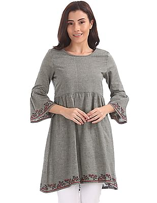 Bronz Bell Sleeves Embroidered Tunic