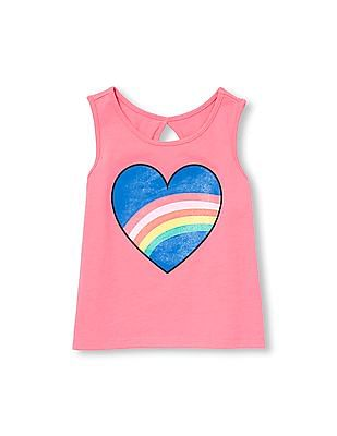 The Children's Place Toddler Girl Pink Matchables Sleeveless Glitter Graphic Cutout Back Tank Top