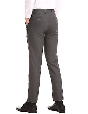 Excalibur Grey Slim Fit Solid Trousers