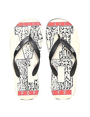 Flying Machine White Printed V-Strap Flip Flops