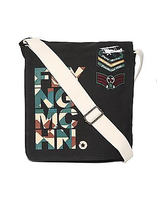 Flying Machine Black Canvas Sling Bag