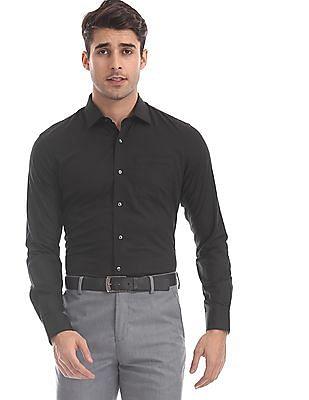 Arrow Black Slim Fit Patterned Shirt