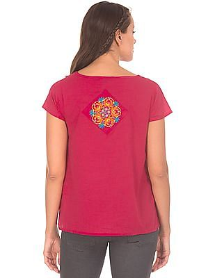 Bronz Embroidered Applique Boxy Top