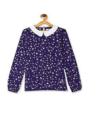 U.S. Polo Assn. Kids Blue Girls Embellished Peter Pan Collar Top