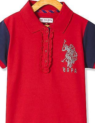 U.S. Polo Assn. Kids Girls Ruffle Trim Colour Block Polo Shirt