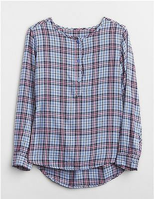 GAP Girls Plaid Henley Popover Shirt