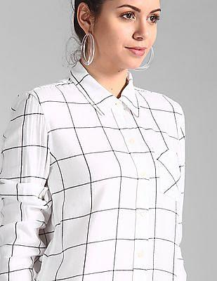 GAP White Plaid Flannel Shirt