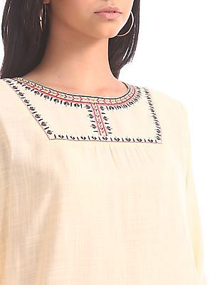 Bronz Woven Embroidered Top