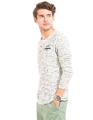 Cherokee Space Dyed Slim Fit Henley T-Shirt