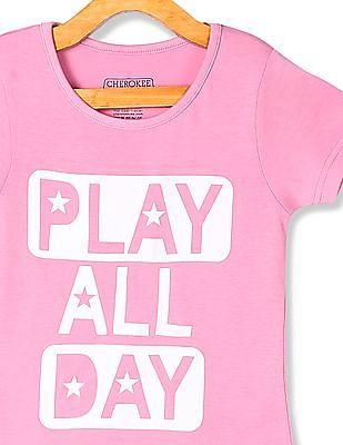 Cherokee Pink Girls Ribbed Neck Graphic T-Shirt