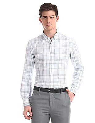Arrow Newyork Blue Slim Fit Checked Shirt