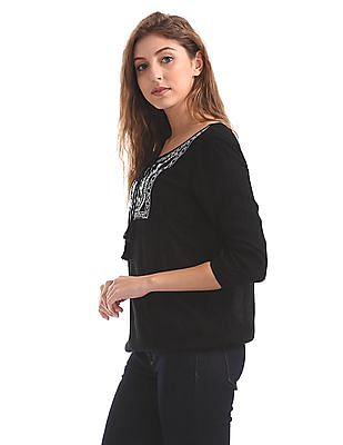 Cherokee Embroidered Blouson Top