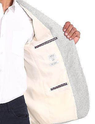 Arrow White Peak Lapel Collar Patterned Blazer