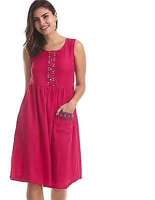 Bronz Pink Embroidered Fit And Flare Dress