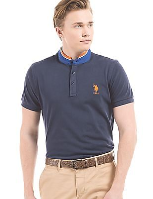 U.S. Polo Assn. Slim Fit Mandarin Collar Polo Shirt