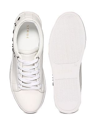 Stride White Stud Embellished Low Top Sneakers