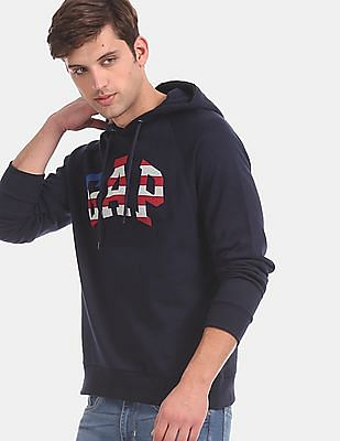 GAP Men Blue Raglan Sleeve Hooded Logo Sweatshirt