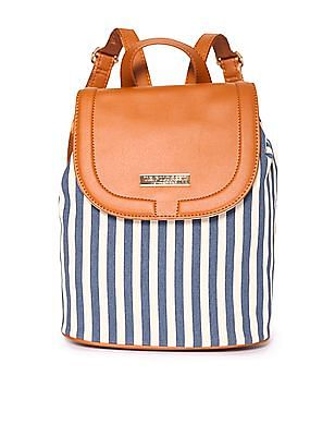 U.S. Polo Assn. Women Striped Canvas Backpack