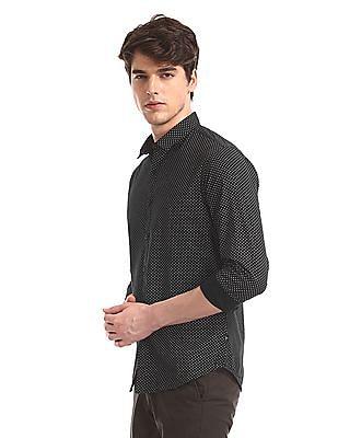 Flying Machine Black Mitered Cuff Printed Shirt