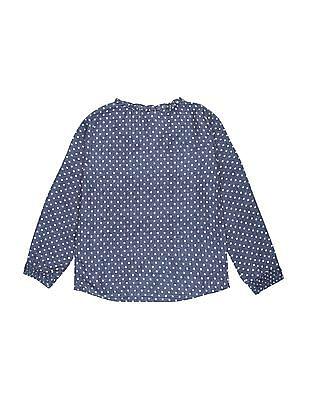 U.S. Polo Assn. Kids Girls Long Sleeve Printed Top