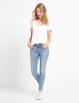 GAP Women Blue Paint Splatter True Skinny Ankle Jeans
