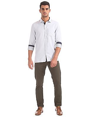 Excalibur Semi-cutaway Collar Patterned Shirt