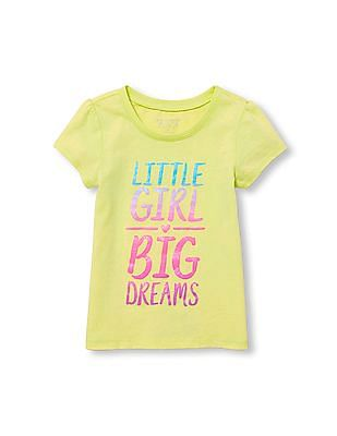 The Children's Place Toddler Girl Short Sleeve Glitter 'Little Girl Big Dreams' Graphic Tee