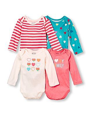 The Children's Place Baby Girls Long Sleeve Family Hearts Little Talker Bodysuit 4-Pack