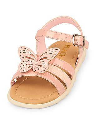 The Children's Place Toddler Girl Glitter 3D Butterfly Boardwalk Sandals