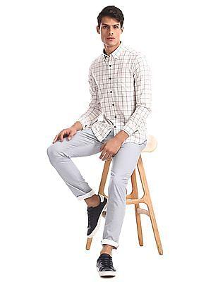 Arrow Sports White Button Down Collar Check Shirt
