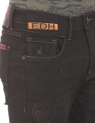 Ed Hardy Super Slim Fit Appliqued Jeans
