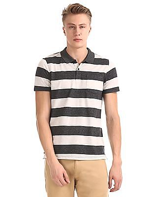 Roots by Ruggers Grey Striped Regular Fit Polo Shirt