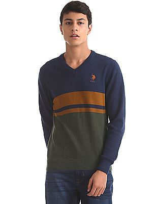 c4866e3674c9f Buy Mens USSW0734 Country Blue Melange Mens Sweater online at NNNOW.com