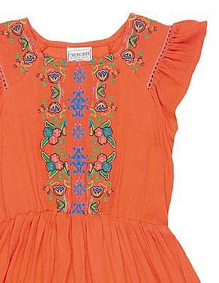 Cherokee Girls Embroidered Crinkled Dress
