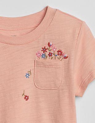 GAP Toddler Girl Pink Graphic Pocket Short Sleeve T-Shirt