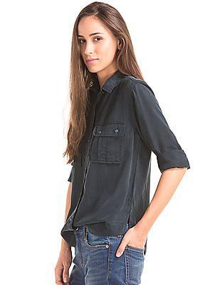 GAP Women Black Utility Shirt