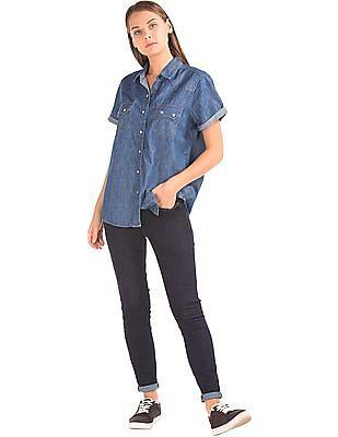 GAP Women Blue 1969 Denim Short Sleeve Western Shirt