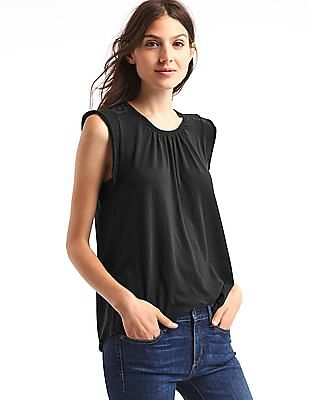 GAP Women Black Soft Cap Sleeve Top