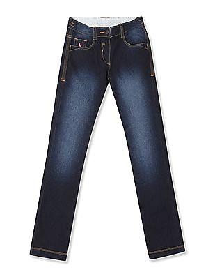 U.S. Polo Assn. Kids Girls Regular Fit Mid Waist Jeans
