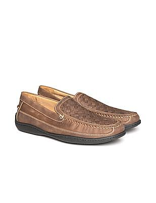 Johnston & Murphy Basket Weave Suede Leather Loafers